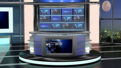 Virtual TV Studio News Set 27-8. 3d Rendering. Virtual set studio for chroma footage. wherever you want it, With a simple setup, a few square feet of space, and Virtual Set, you can transform any loca