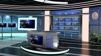 Virtual TV Studio News Set 27-7. 3d Rendering. Virtual set studio for chroma footage. wherever you want it, With a simple setup, a few square feet of space, and Virtual Set, you can transform any loca