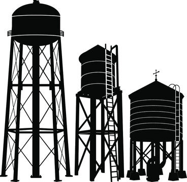 Water tower silhouette vector on white background