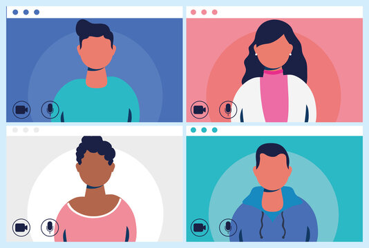 people in virtual conference communication template