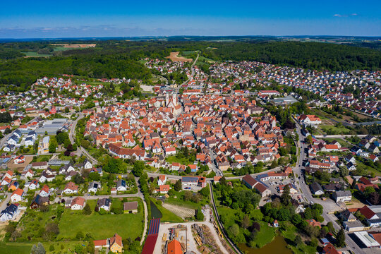Aerial view of the city Wemding in Germany, Bavaria on a sunny late afternoon spring day during the coronavirus lockdown.