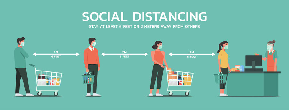 people maintain social distancing to prevent virus spreading and transmission at the supermarket, man and woman keep distance from others, new normal concept, vector flat illustration