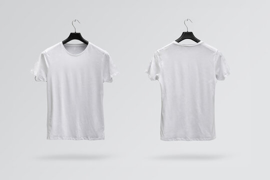 Front and back sides of male white cotton t-shirt isolated on a white background. T-shirt without print