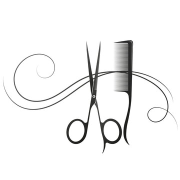 Hair stylist scissors comb and curl hair silhouette for beauty salon