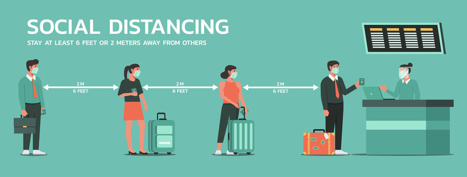 people waiting in line at the airport and maintain social distancing to prevent virus spreading and transmission, man and woman keep distance from others, new normal concept, vector flat illustration