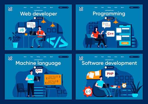 Software development flat landing pages set. Frontend and backend developers working in office scenes for website or CMS web page. Web development, programming and machine language vector illustration