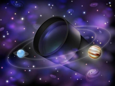 Amateur astronomy concept illustration, realistic optical telescope surrounded by stars, galaxies, nebulas and planets, space scientific exploration themed vector background