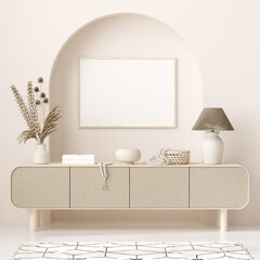 Mockup frame in interior background, room in light pastel colors, Scandi-Boho style, 3d render