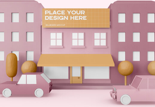 Cartoon City with Shop Sign Mockup