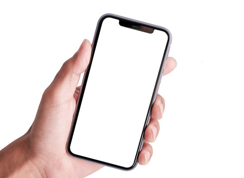 Bangkok, Thailand - JUNE 2, 2020: Studio shot of Hand holding Smartphone iPhone 11 Pro Max and Show white screen for Phone your web site design, logo, app -include clipping path.