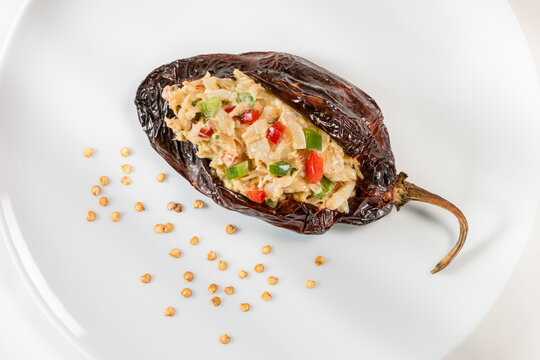 Crab meat stuffed Mexican smoked chili Smoked Poblano chili filled with tasty crab meat