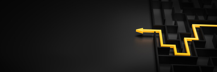 3d rendering: Concept - solving a complex problem. Black maze and floor with yellow solution path...