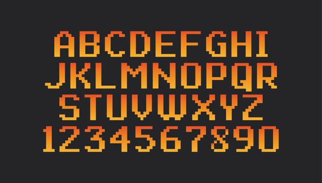 Pixel vintage font isolated on black background.