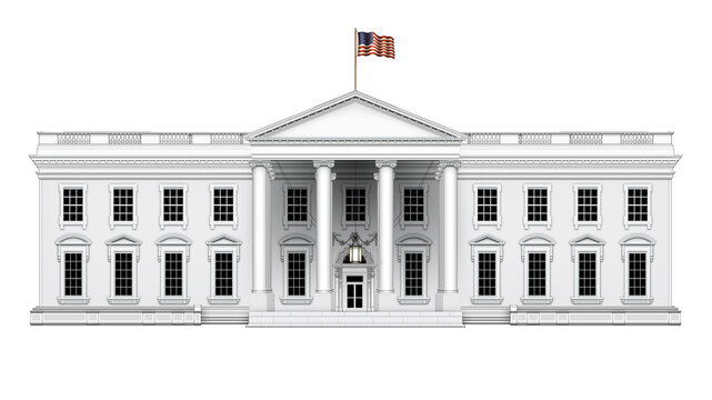 North View of the White House with No Extra Roof Structures – Isolated. 3D Illustration