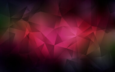 Dark Red, Yellow vector abstract polygonal pattern. Triangular geometric sample with gradient.  Completely new template for your banner.
