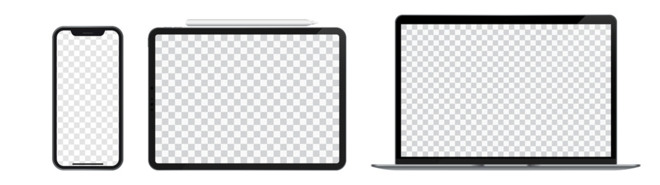 Smartphone, Tablet and Laptop Mockup Screen Template. Stock Vector