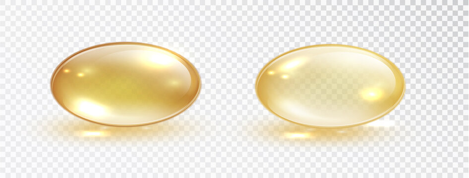 Oil bubble isolated on transparent background. Transparent yellow capsule of drug, vitamin or fish oil macro vector illustration. Cosmetic pill capsule of vitamin E, A or argan oil