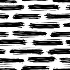 Black bold ink stripes isolated on white background. Horizontal view. Abstract geometric seamless pattern. Hand drawn vector flat graphic illustration. Texture.