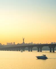 Dnipro river Paton bridge Kyiv