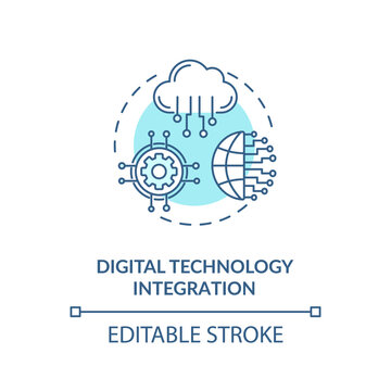 Digital technology integration turquoise concept icon. Digital transformation for education. Electronics idea thin line illustration. Vector isolated outline RGB color drawing. Editable stroke
