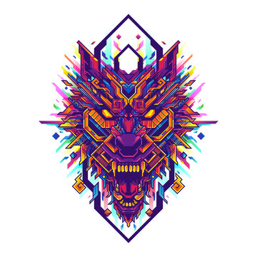 wolf head pop art geometric illustration and tshirt design