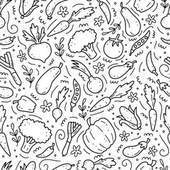 Custom vertical slats with your photo Hand drawn seamless pattern of vegetable elements, carrot, salad, tomato, onion, lettuce, chili, cucumber. Doodle sketch style. Vegetables element of vector illustration for menu, fabric, textile.