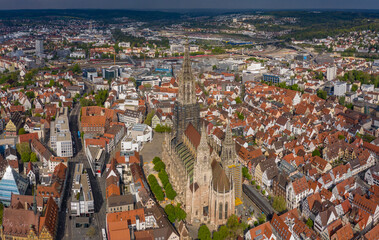 Aerial view of the Ulm münster cathedral in Germany on a sunny spring day during the coronavirus lockdown.