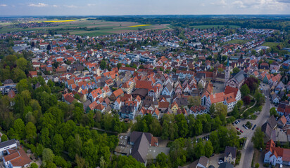 Aerial view of the city and monastery Wiblingen in Germany on a sunny spring day during the coronavirus lockdown.