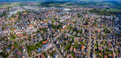 Fotobehang Oceanië Aerial view of the city Senden in Germany, Bavaria on a sunny spring day during the coronavirus lockdown.