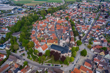 Aerial view of the city Weißenhorn in Germany, Bavaria on a sunny spring day during the coronavirus lockdown.