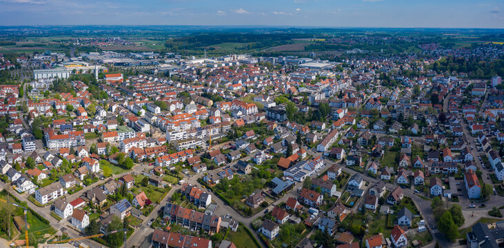 Aerial view of the city Senden in Germany, Bavaria on a sunny spring day during the coronavirus lockdown.