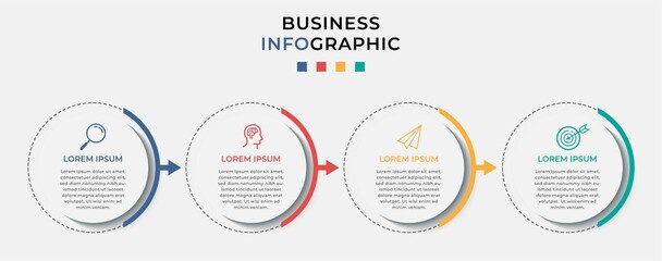 Business Infographic design template Vector with icons and 4 four options or steps. Can be used for process diagram, presentations, workflow layout, banner, flow chart, info graph