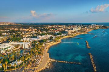 Cyprus, Paphos embankment, aerial view. Famous mediterranean resort city Summer Travel.
