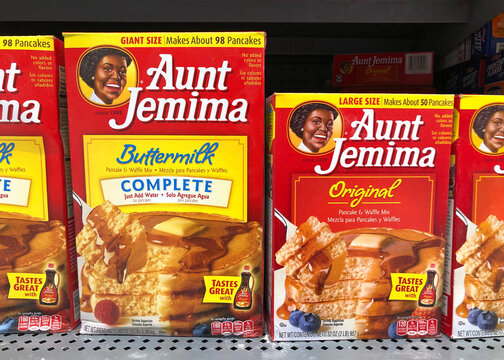San Leandro, CA - June 23, 2020: Aunt Jemima pancake mix, original and buttermilk. The pancake mix debuted in 1889, the first ready mix, and became one of the most recognized names in US history.