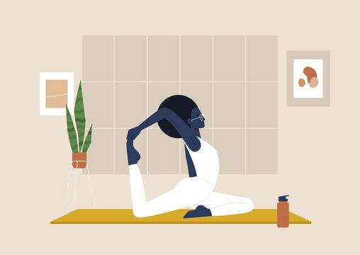 Young black female character doing stretching exercises, mindfulness and meditation,  yoga studio