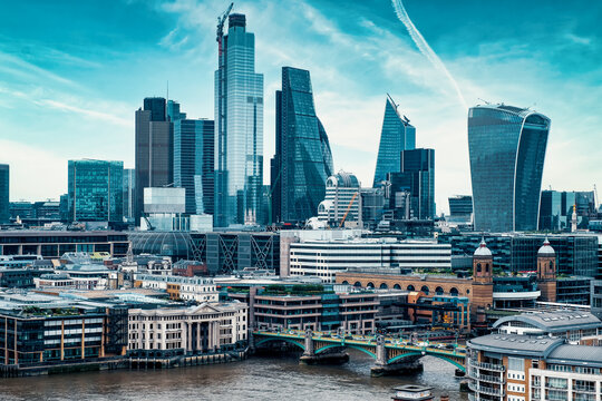 The City of London with several landmarks