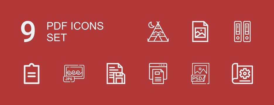 Editable 9 pdf icons for web and mobile