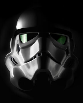 NEW YORK, USA - NOV 7 2015: Studio portrait of an EFX brand Star Wars ANH Stormtrooper helmet with dramatic lighting. The Star Wars franchise is owned by Disney