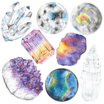 Crown chakra stones set. Illustration of gems drawn by hand with watercolor. Healing crystals quartz, amethyst, ametribe, labradorite, moonstone, selenite