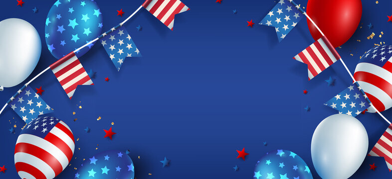 Independence day USA banner template american balloons flag and flags Garlands decor and free space.4th of July celebration poster template.fourth of july calligraphy vector illustration .