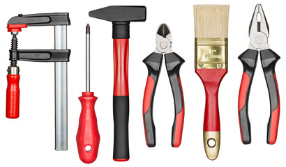 Isolated red and black hand tools