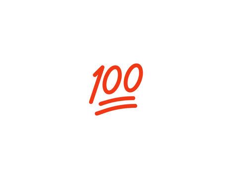 Hundred Points vector flat icon. Perfect Score Symbol. Isolated 100 Points emoji illustration symbol