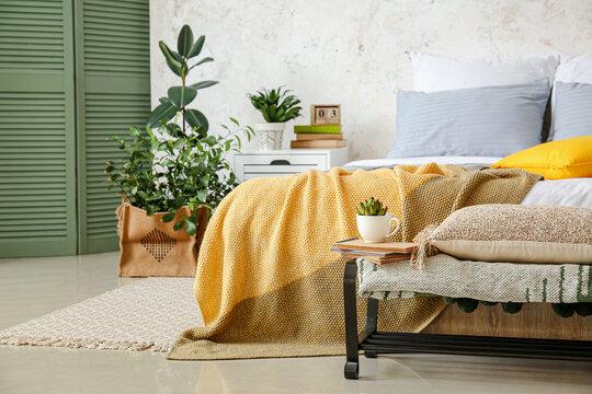 Stylish interior of bedroom with houseplants
