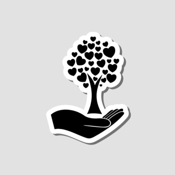 Tree with hearts icon sticker isolated on gray background
