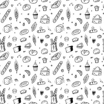 Hand drawn bakery seamless pattern, doodles elements background. Vector sketchy illustration