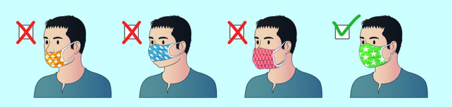 How to wear mask correctly. How tu use mask properly. Correct ways to wear face mask.