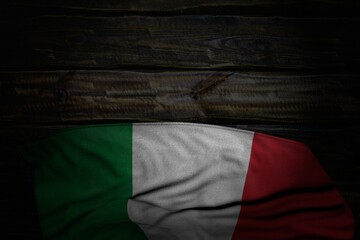 wonderful independence day flag 3d illustration. - dark picture of Italy flag with big folds on old wood with free space for your text