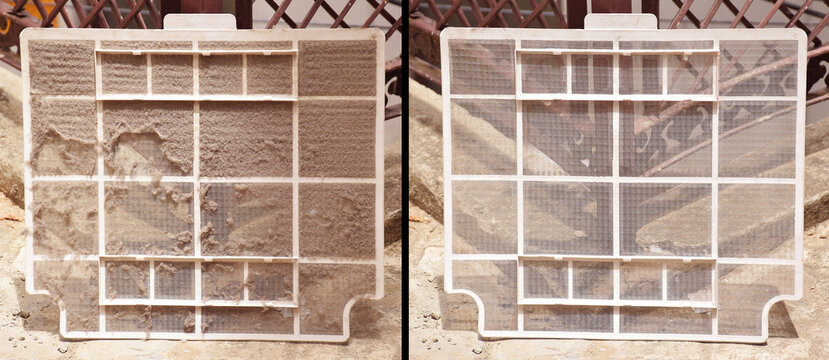 Before and After picture shows dust on ac filter and a clean filter after washing it. Air Conditioner Filter