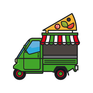 Small italian pizza food truck tricycle isolated vector illustration  for Food Truck Day on June 26th