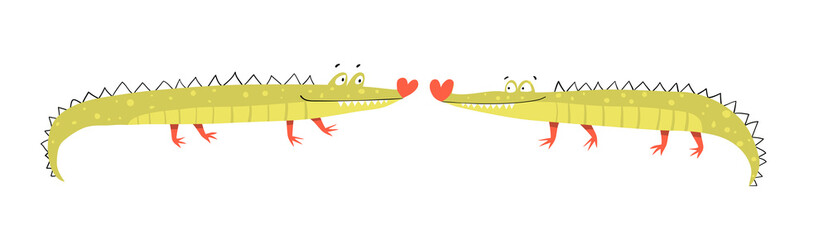 Funny cute amusing and silly crocodiles couple in love kissing. Character design, cute smiling happy animals for children. Hilarious hand drawn alligator design. Vector kids cartoon illustration.